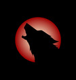 howling wolf head logo vector image vector image
