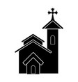 isolated catholic church silhouette vector image