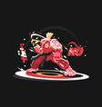 karate man in kimono vector image vector image