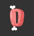 letter d meat font pork and bone alphabet sign vector image vector image