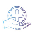 line hand with cross medicine symbol to help the vector image vector image