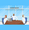 meeting of arab business men group of muslim vector image