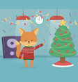 merry christmas celebration fox wearing sweater vector image vector image