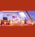 messy girl bedroom interior on attic