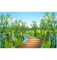 Nature scene with bamboos along the bridge vector image