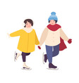 pair of cute girls holding hands and ice skating vector image vector image