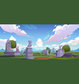 pet cemetery animal graveyard with tombstones vector image