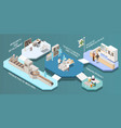 pharmaceutical production isometric multistore vector image