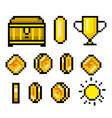 pixel art 8 bit objects retro game assets set of vector image