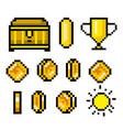 pixel art 8 bit objects retro game assets set of vector image vector image