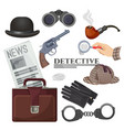 professional retro detective accessories big vector image