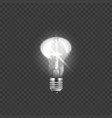 realistic glowing light bulb and incandescent vector image vector image