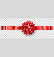 red shiny bow with horizontal ribbon vector image vector image