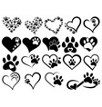 set hearts with paws dogs and cats vector image