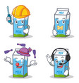 set of milk box character with automotive silent vector image vector image