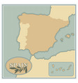 spain map with olives branches and olive leaves vector image vector image
