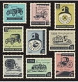 stamps on the theme of road and rail transport vector image