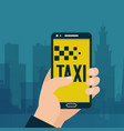 taxi ordering in handphone banner car sharing and vector image