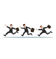 three businessmen with a briefcase in their hand vector image vector image