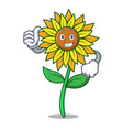 thumbs up sunflower character cartoon style vector image vector image