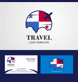 travel panama flag logo and visiting card design vector image