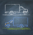 truck sketch on chalkboard vector image