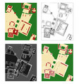 uxmal archaeological site in top view vector image vector image