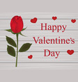 valentines card with a rose on wooden background vector image vector image