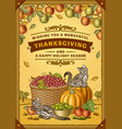 vintage thanksgiving greeting card vector image vector image