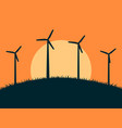 wind turbine on background sun vector image