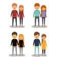 winter clothes with couples with sweaters colorful vector image
