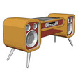 yellow old sound system on white background vector image vector image