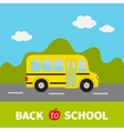 Yellow school bus kids Green grass and road vector image vector image