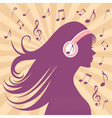 Girl silhouette with headphones vector image