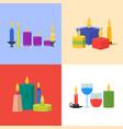 cartoon candles banner card set vector image