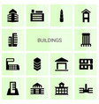 14 buildings icons vector image vector image