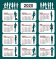 2020 calendar with fashion silhouettes women vector image vector image