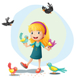 A girl playing with the birds vector image vector image
