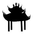 ancient buddhist temple silhouette vector image vector image