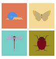 assembly flat bug snail butterfly dragonfly vector image vector image
