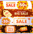 autumn sale banner set cartoon style vector image vector image
