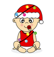 baby with christmas lights vector image vector image