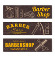 barbershop business banner set isolated from vector image