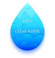 blue paper water drop vector image