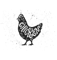 Chicken letterring in silhouette vector image