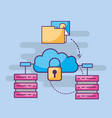 cloud storage cyber security folder files photo vector image vector image