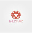 cow farm icon template cattle farm symbol global vector image