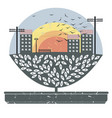 cute image with tree in pot and little town with vector image vector image