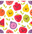 cute smiling fruits seamless pattern vector image