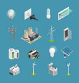 electricity power icons isometric collection vector image vector image